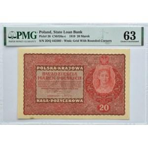 Polska, II RP, 20 marek 1919, II serja DQ, Londyn, PMG 63