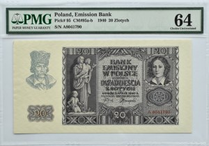 Polska, Generalna Gubernia, 20 złotych 1940, seria A, Kraków, PMG 64