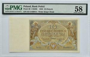Polska, II RP, 10 złotych 1929, seria DZ, Warszawa, PMG 58