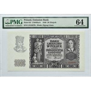 Polska, Generalna Gubernia, 20 złotych 1940, Kraków, seria L, PMG 64