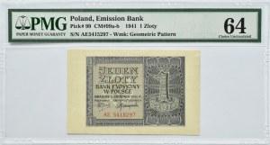 Polska, Generalna Gubernia, 1 złoty 1941, seria AE, PMG 64