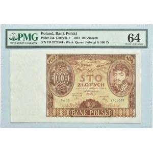 Polska, II RP, 100 złotych 1934, seria CB, Warszawa PMG 64
