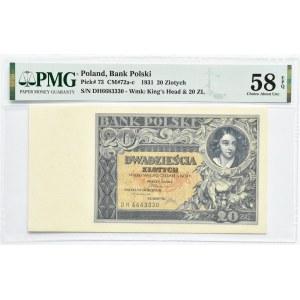 Polska, II RP, 20 złotych 1931, seria DH, Warszawa, PMG 58 EPQ