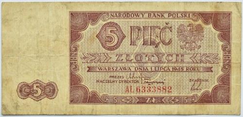 Polska, RP, 5 złotych 1948, seria AŁ, Warszawa