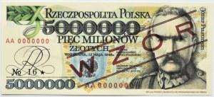 Polska, 5 milionów złotych 1995, seria AA, Wzór, Replika, UNC