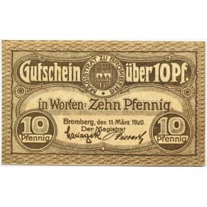 Bromberg, Bydgoszcz, znaczek wartościowy 10 fenigów 1920, UNC