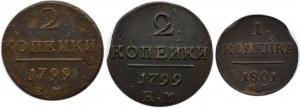 Rosja, Paweł I, lot 3 monet miedzianych, Jekaterinburg/Suzun