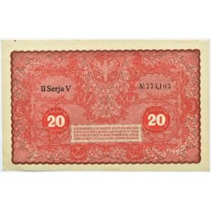 Polska, II RP, 20 marek 1919, II seria V, piękne