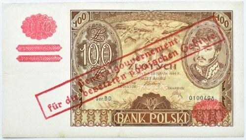 Polska, Generalna Gubernia, 100 złotych 1934, seria BD, fałszywy nadruk