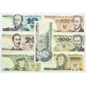 Polska, PRL, lot 7 banknotów 10-1000 złotych, UNC