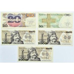 Polska, PRL, lot 5 banknotów z okolicznościowym nadrukiem, TN Gniezno