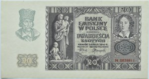 Polska, Generalna Gubernia, 20 złotych 1940, seria N, Kraków, UNC