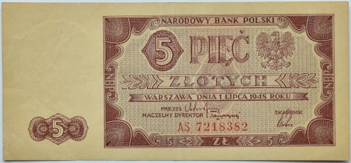 Polska, RP, 5 złotych 1948, seria AS, Warszawa