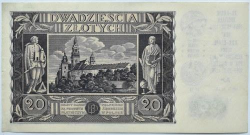 Polska, II RP, 20 złotych 1936 z okolicznościowym nadrukiem, TN Gniezno