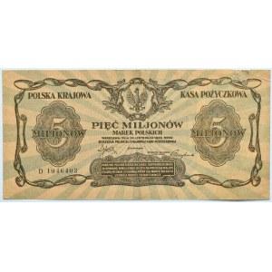 Polska, II RP, 5 milionów marek 1923, seria D, rzadkie