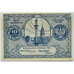 Polska, II RP, bilet zdawkowy 10 groszy 1924