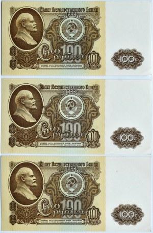 Rosja, Lenin, 100 rubli 1961, seria B Cz, lot 3 kolejnych numerów