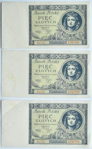 Polska, II RP, 5 złotych 1930, seria CU, Warszawa, trzy kolejne numery
