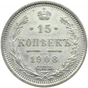 Rosja, Mikołaj II, 15 kopiejek 1908 EB, Petersburg