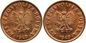 Polska, RP, 5 groszy 1949, Bazylea, dwa wspaniałe rewelacyjne egzemplarze