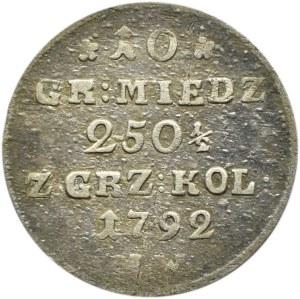 Stanisław A. Poniatowski, 10 groszy miedzianych 1792 M.W., Warszawa