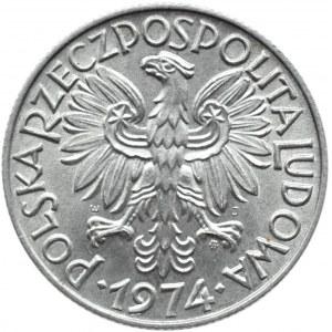 Polska, PRL, Rybak, 5 złotych 1974, Warszawa, IDEALNE, UNC