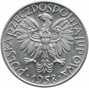 Polska, PRL, Rybak, 5 złotych 1958, wąska ósemka