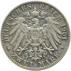 Niemcy, Badenia, Fryderyk, 2 marki 1901 G, Karlsruhe
