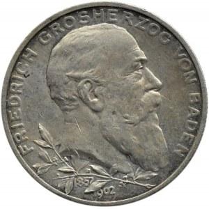 Niemcy, Badenia, Fryderyk, 2 marki 1902, 50-lecie panowania