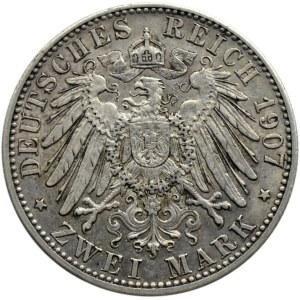 Niemcy, Badenia, Fryderyk, 2 marki 1907 pośmiertne, Karlsruhe