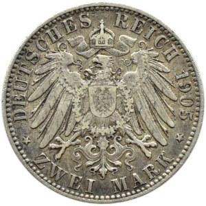 Niemcy, Hamburg, 2 marki 1905 J, Hamburg, rzadki rocznik