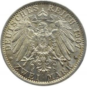 Niemcy, Prusy, Wilhelm II, 2 marki 1907 A, Berlin