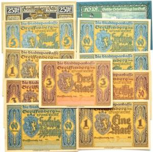 Greiffenberg, Gryfów(Śląsk), 10 notgeldów od 5 pfennigów-5 marek 1920