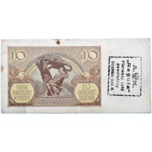 Polska, Generalna Gubernia, 10 złotych 1940, seria L, okupacyjny nadruk powstańczy