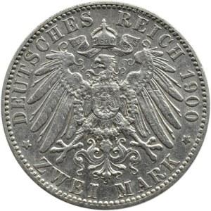 Niemcy, Saksonia, Albert, 2 marki 1900 E, Muldenhütten