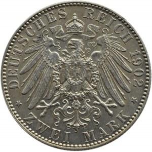 Niemcy, Saksonia, Albert, 2 marki 1902 E, Muldenhütten, edycja pośmiertna