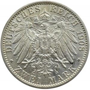 Niemcy, Saksonia, 2 marki 1908, 350-lecie Uniwersytetu w Jenie, Muldenhütten