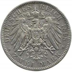 Niemcy, Schwarzburg-Rudolstadt, Günther, 2 marki 1898, Berlin, rzadkie
