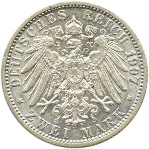 Niemcy, Wirtembergia, Wilhelm II, 2 marki 1907 F, Stuttgart