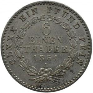 Niemcy, Anhalt-Bernburg, 1/6 talara 1861 A, Berlin