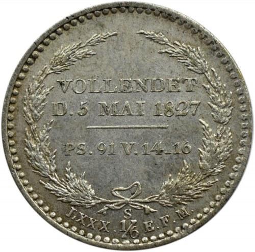 Niemcy, Saksonia, Fryderyk August II, 1/6 talara 1827 edycja pośmiertna, Drezno