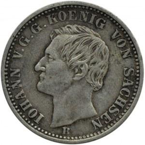 Niemcy, Saksonia, Johann, 1/6 talara 1860 B, Hannover