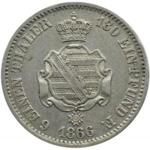 Niemcy, Saksonia, Johann, 1/6 talara 1866 B, Hannover