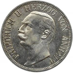 Niemcy, Anhalt, Friedrich II, 3 marki 1909 A, Berlin, PIĘKNE!