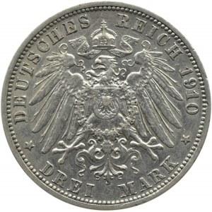 Niemcy, Badenia, Fryderyk II, 3 marki 1910 G, Karlsruhe