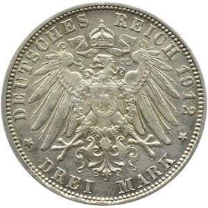 Niemcy, Bawaria, Otto, 3 marki 1912 D, Monachium