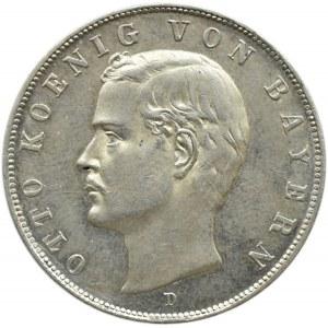 Niemcy, Bawaria, Otto, 3 marki 1913 D, Monachium, UNC