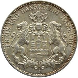 Niemcy, Hamburg, 3 marki 1913 J, Hamburg, piękne!