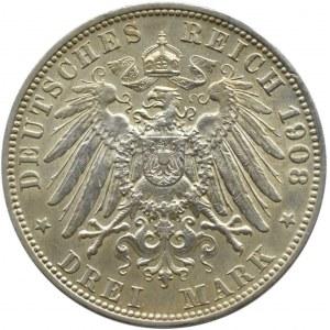 Niemcy, Lubeka, 3 marki 1908, Berlin, rzadkie