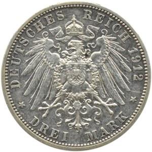 Niemcy, Lubeka, 3 marki 1912 A, Berlin, rzadkie